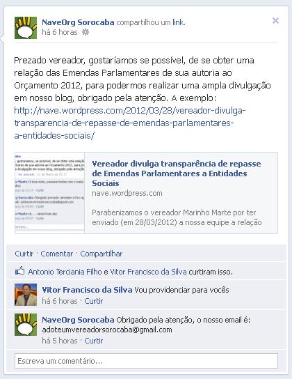 Solicitação pela rede social sobre as Emendas Parlamentares do vereador Vitor São José