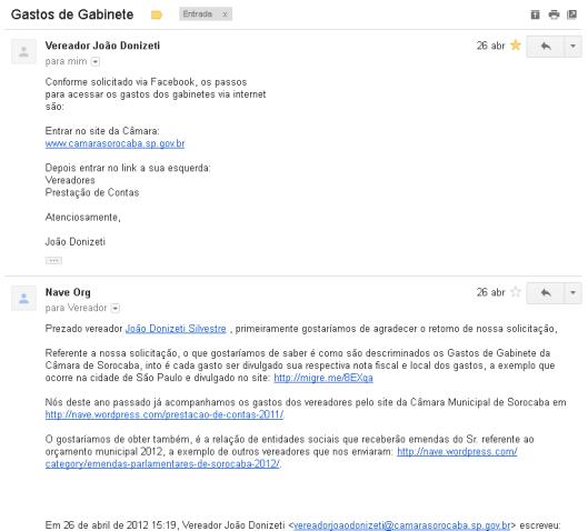 João Donizete Silvestre - Solicitação das Emendas 2012