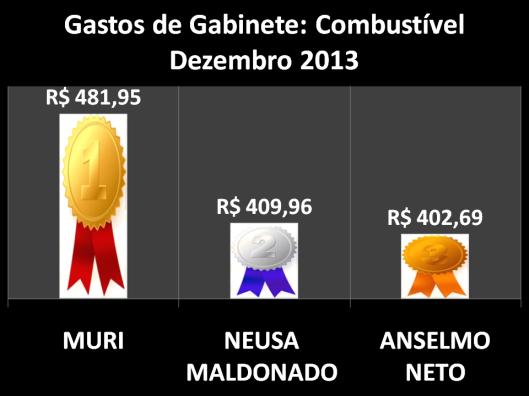 Gráfico dos vereadores campeões do gastos com Combustíveis