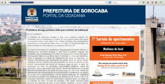 Imagem do site da Prefeitura de Sorocaba em 26/05/2014