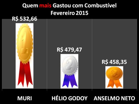 Gráfico dos vereadores campeões do gastos com Combustíveis em Fevereiro de 2015