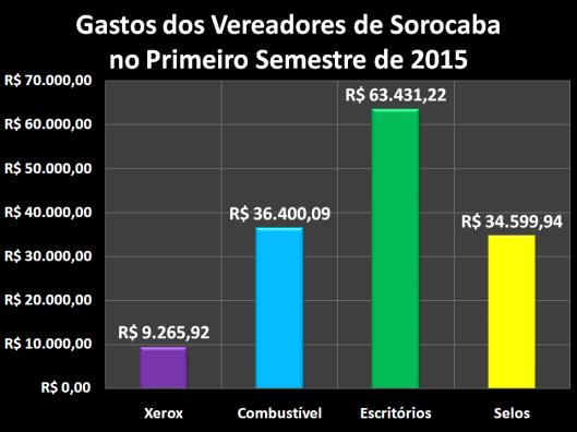 Gastos dos vereadores com Despesas de Gabinete no Primeiro Semestre de 2015