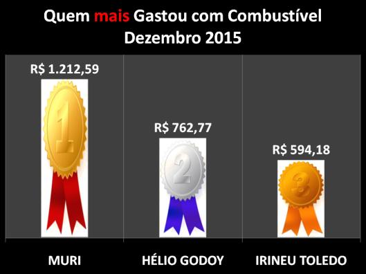 Gráfico dos vereadores campeões do gastos com Combustíveis em Dezembro de 2015