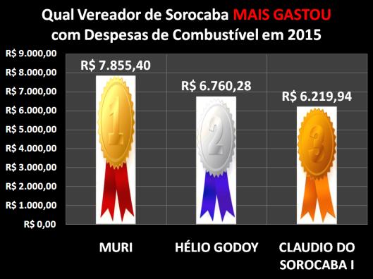 Qual Vereador de Sorocaba mais gastou com Despesa de Combustível em 2015