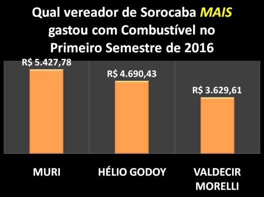 Qual Vereador de Sorocaba mais gastou com Combustível no Primeiro Semestre de 2016