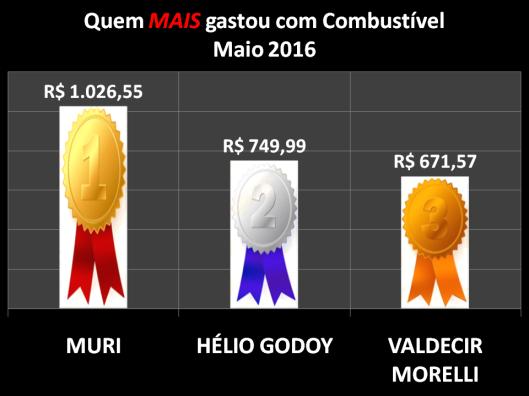 Gráfico dos vereadores campeões do gastos com Combustíveis em Maio de 2016