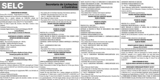 Informações sobre Licitações e Contratos de Sorocaba publicados em 12/05/2017