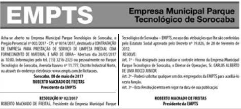 Transparência dos atos do Parque Tecnológico de Sorocaba em 12/05/2017