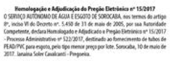 Resultados dos Pregões da SAAE, publicado em 12/05/2017