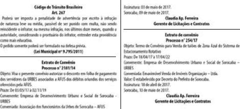 Resultados dos Pregões da URBES, publicado em 12/05/2017