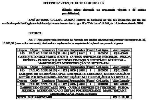 34 Decretos Municipais publicados no Jornal do Município em 18/08/2017