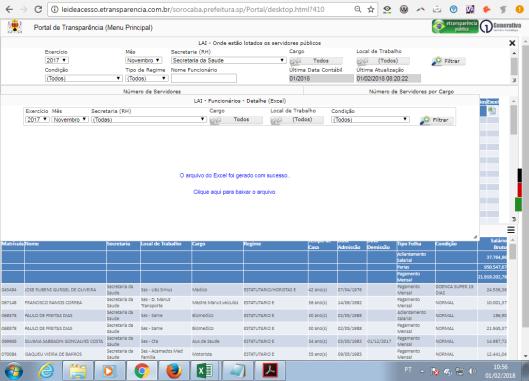 Portal de Transparência da Prefeitura Municipal de Sorocaba em 01/02/2018