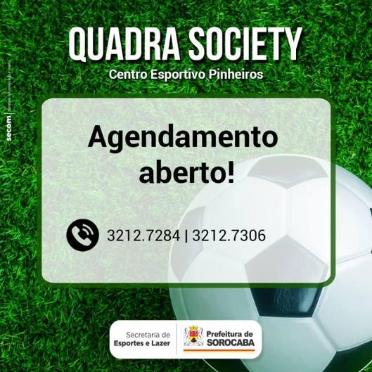 Agendamento aberto para Quadra Society